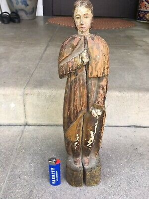 Spanish Colonial Polychrome Painted Santos Figure 19th Century Mexican Filipino