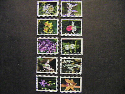 US SC# 5435-44 Wild Orchids set of 10 booklet stamps from 2020. Used, off paper