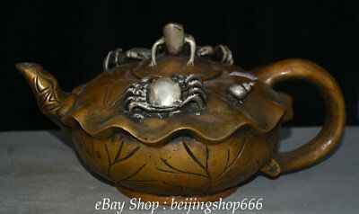 "12.8"" Qianlong Marked Old China Bronze Dynasty crab frog Vessel Teapot Teakettle"