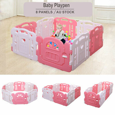 8 Sided Panel Baby Playpen Pink Interactive Kids Safety Gates Child Barrier