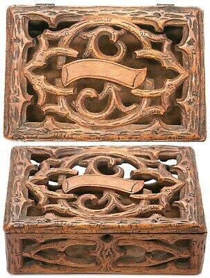 Antique Black Forrest Gothic Carved Branches Pierced Wooden Box European Wood