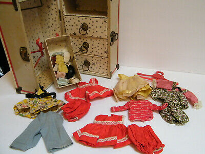 Vintage Ginny Vogue Doll 1950s Lot clothes Wardrobe Trunk Trousseau Shoes socks