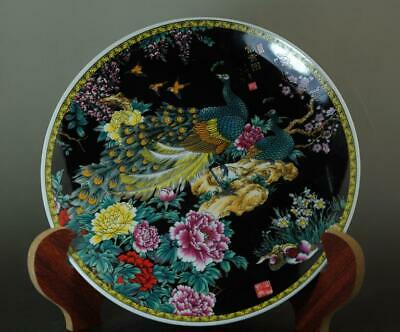 Chinese Old Hand-made Famille-rose Porcelain Peony&peacock Porcelain Plate B02