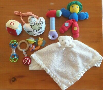 Baby toy bundle # 2. Snuggle buddy, teether, other scrunchy toys