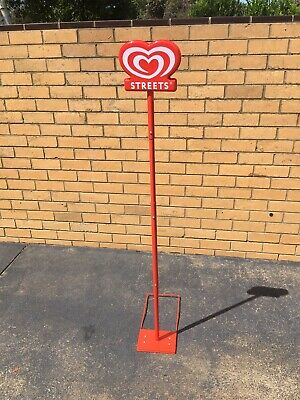 Streets Icecream Sign On Original Stand- Aluminium Frame - Peters -Collectable