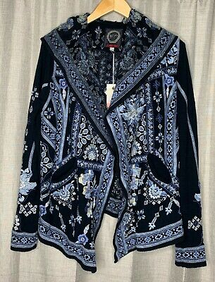 Johnny Was Ipstore Embroidered Open Front Short Hoodie Boho Chic B58419 NEW