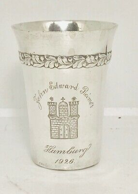 Rare European solid silver beaker or cup ,Germany,  hallmarked  c1926