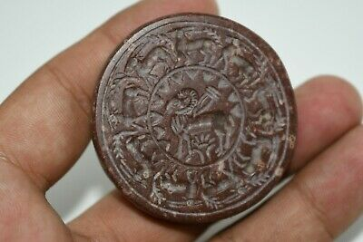 A Very Beautiful Ancient Brown Jasper Sasanian Stamp seal pendant/ Scaraboid
