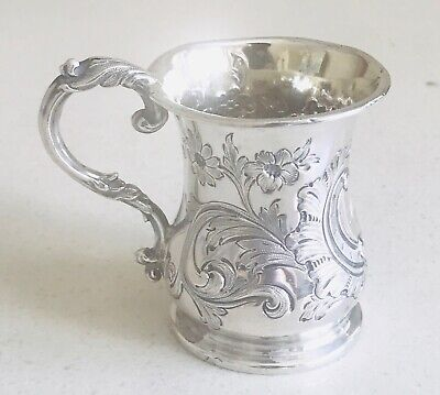 Antique English Queen Victoria Sterling silver tankard / cup /mug, London,c1857