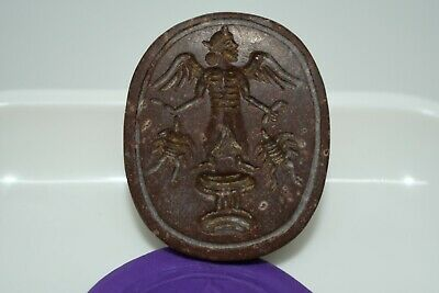 A Very Lovely Ancient Brown Jasper Near Eastern Stamp seal pendant/ Scaraboid