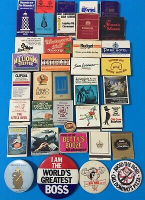 Lot Of 33 Old Advertising Matches & 4 Large Button Badgers