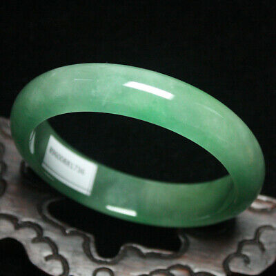 58mm Certified (Grade A) Natural Green Jadeite JADE Bracelet Bangle 1930