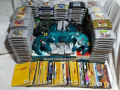 Nintendo 64 Lot w/ Ice Blue Funtastic Console 205 Games Many Manuals N64 System