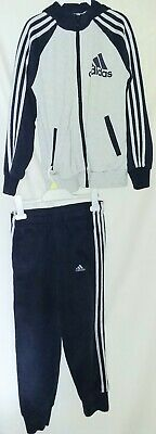 Boys Adidas Tracksuit Hooded Jacket Blue Grey Age 9 10 Years Immaculate Logos