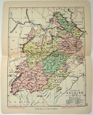 Original Philips 1891 Map of The County of Selkirk, Scotland. Antique