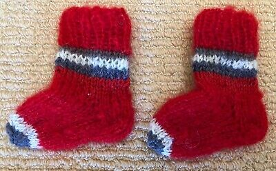 New Childrens Baby Girl Mohair Wool Hand Knitted Stripes Stretch Socks 9.5cm