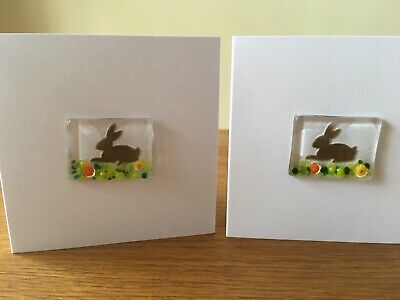 Handmade Fused Glass Rabbit And Millefiori Flowers Easter Card Bunny Spring