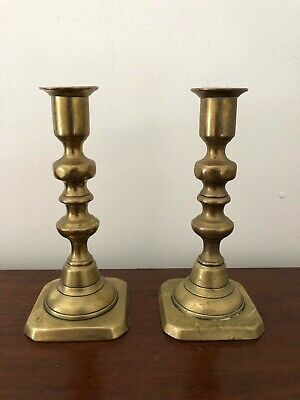 Pair of Square Base Brass Candlesticks