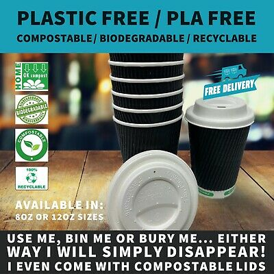 12oz Black Ripple Paper Coffee Cup |  Plastic Free / Compostable & Bagasse Lids