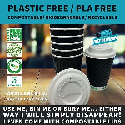 8oz Black Ripple Paper Coffee Cup |  Plastic Free / Compostable & Bagasse Lids