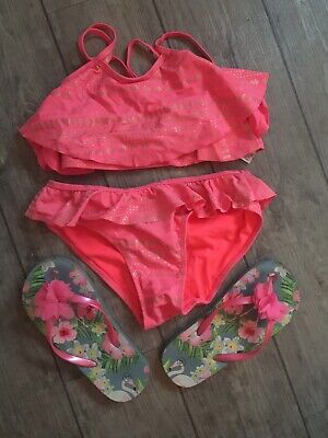 Girls Coral Bikini 10-11 Years And Flip Flops Size 3 Bundle