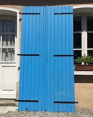 Vintage Wooden Window Shutters Small Heavy Doors Salvage Architectural Reclaimed