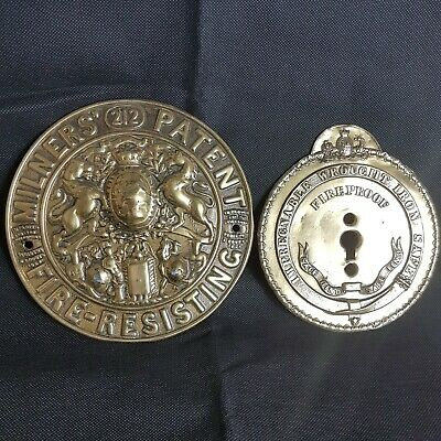 Two Large Antique Brass Safe Plates