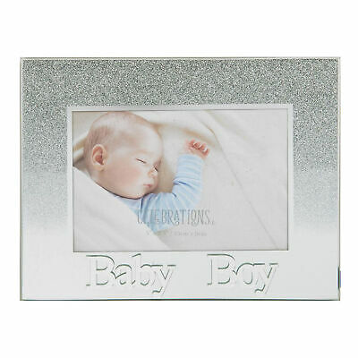 Glass 5'x3.5' Photo Frame with Glitter and Mirror Letters - Baby Boy