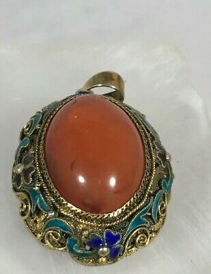 Antique Chinese Sterling Silver Export Carnilian ? Enamel Pendant