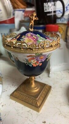 Stunning Antique bronze Ormolu mounted porcelain covered urn cachepot vase!!!!!!