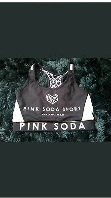 Girls Pink Soda Sport Bra Crop Top Black And White Reversible Small