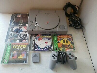 PlayStation 1 PS1 - CONSOLE System Bundle w/ 5 Games + Hookups SCPH-1001 TESTED