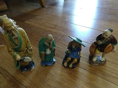 "Antique Vintage China Approx 5-1/2"" Ceramic Mudmen Chinese Assorted Figurines"