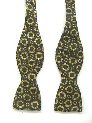 Vintage Fr.tripler All Silk Navy/Gold Self Tie Adjustible Butterfly Bow Tie