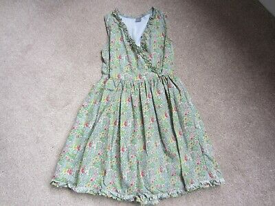 Next green floral cotton lined wrap-over sundress, age 10