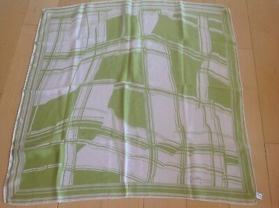 """Designer Signature Lime Green And White Abstract Silk Scarf 31""""sq"""