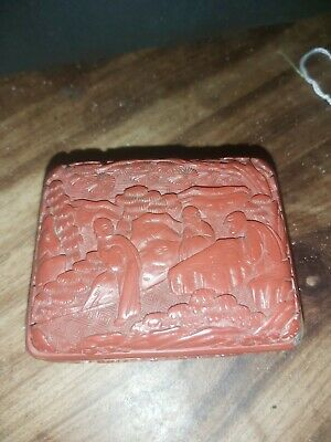Superb 18/19Thc Chinese Cinnabar Carved Box A/F