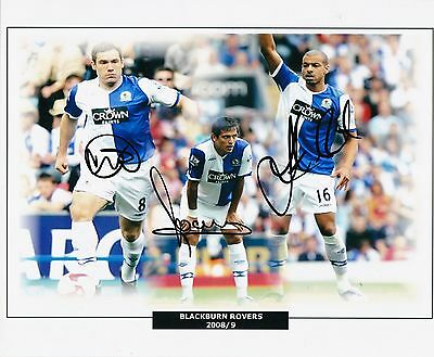 DAVID DUNN ROQUE SANTA CRUZ & STEVEN REID BLACKBURN ROVERS SIGNED 10 x 8 PHOTO