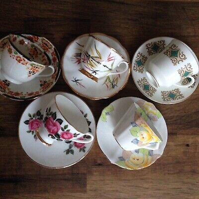 5 Vintage China Tea Set Cups & Saucers Mismatched Pink Yellow Blue Gold Wedding