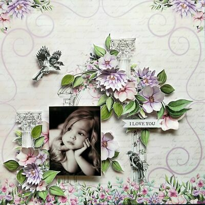 "Handmade Mixed Media 12"" x 12"" Scrapbook Page - I love you"