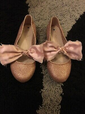 Girls Next Gold Glitter Sparkle Bow Party Shoes Size Infant 11