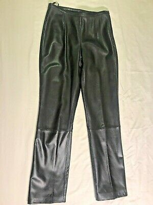 Wilsons Black Leather 90s Retro Straight Leg Pants Size 8 Butter Soft MINT