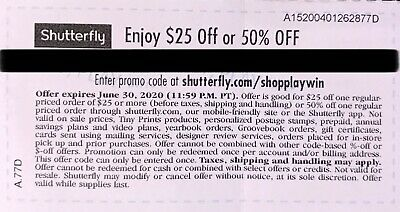Shutterfly $25 Off or 50% OFF. Code expires 06/30/2020