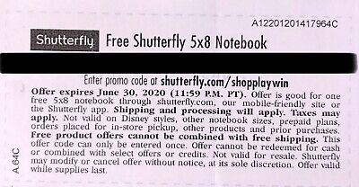 Shutterfly 5x8 Notebook. Code expires 06/30/2020