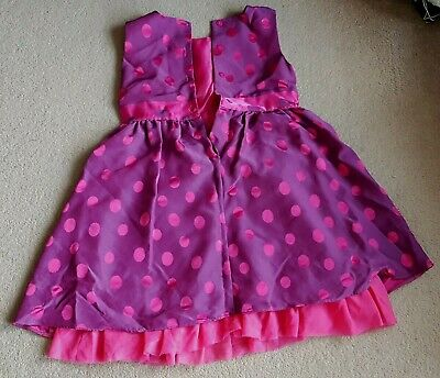 Young Girls Pink Purple Spotted Dress Size Age 5-6 Years Female By George+Rose.