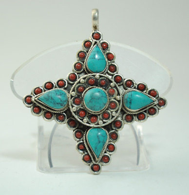 Collection chinese old hand-made Tibetan silver inlay Turquoise pendant 012/Aa02
