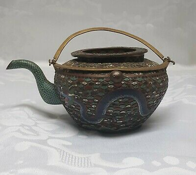 Bronze Chinese Cloisonné Teapot with Dragon 19th Century