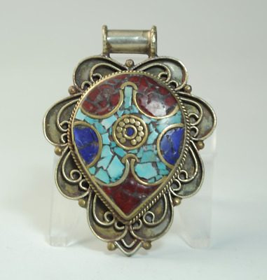 Collection chinese old hand-made Tibetan silver inlay Turquoise pendant 05/Aa02