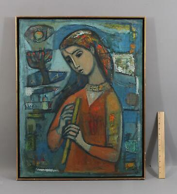 1962 Authentic IRVING AMEN Abstract Cubist Portrait Oil Painting Woman w/ Flute