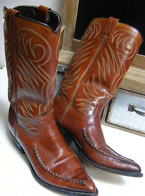 Vtg 1940s Leather Stitch toe DAN POST COWBOY BOOTS WHIPSTITCH WESTERN Women Sz 6